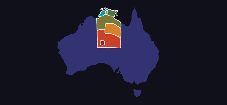 Map of Australia highlighting the Northern Territory regions